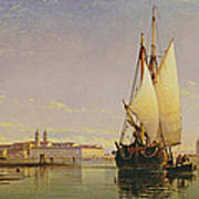 The Euganean Hills And The Laguna Of Venice - Trabaccola Waiting For The Tide Sunset Art Print by Edward William Cooke