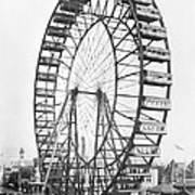 The Ferris Wheel At The Worlds Columbian Exposition Of 1893 In Chicago Bw Photo Art Print