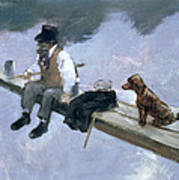 The Fisherman, Detail Of A Man Fishing Art Print