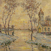 The Fishermens Chapel Under Snow Art Print