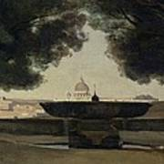 The Fountain Of The French Academy In Rome, 1826-27 Oil On Canvas Art Print