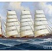 The Four-masted Barque Cedarbank At Sea Under Full Sail Art Print
