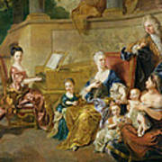 The Franqueville Family, 1711 Oil On Canvas Art Print