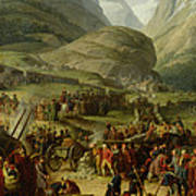 The French Army Travelling Over The St. Bernard Pass At Bourg St. Pierre, 20th May 1800, 1806 Oil Art Print