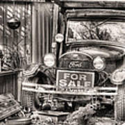 The Garage Sale Black And White Art Print