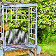 The Garden Bench In Spring  Art Print