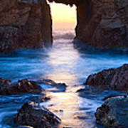 The Gateway - Sunset On Arch Rock In Pfeiffer Beach Big Sur In California. Art Print by Jamie Pham