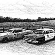 The General Lee And Barney Fife's Police Car Art Print by Janet King