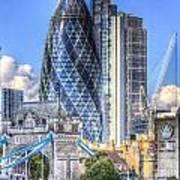 The Gherkin And Tower Bridge Art Print