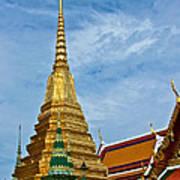 The Golden Chedis At Grand Palace Of Thailand In Bangkok Art Print
