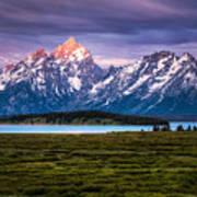 The Grand Tetons mountain range in Wyoming, USA. Art Print