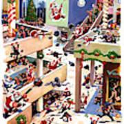 The Great Santa Shoot-out At The Mall Art Print