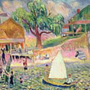 The Green Beach Cottage Art Print