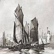 The Herring Fleet, Scarborough Art Print