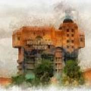 The Hollywood Tower Hotel Disneyland Photo Art 01 Art Print