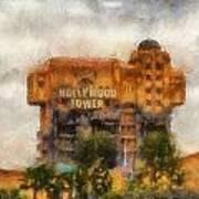 The Hollywood Tower Hotel Disneyland Photo Art 02 Art Print