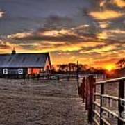 The Horse Barn Sunset Art Print
