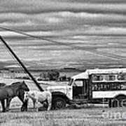The Horses And The Welding Truck Art Print