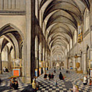 The Interior Of A Gothic Church Art Print by Hendrik the Younger Steenwyck