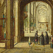 The Interior Of A Gothic Church Looking East Art Print
