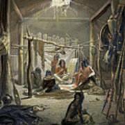 The Interior Of A Hut Of A Mandan Chief Art Print by Karl Bodmer