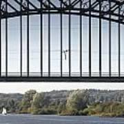 The Iron Railway Bridge Over The Rhine At Arnhem Netherlands Art Print