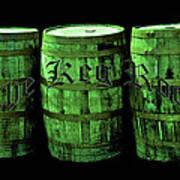 The Keg Room 3 Green Barrels Old English Hunter Green Art Print