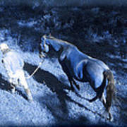 The Light And Shadows Of A Man And His Horse Art Print