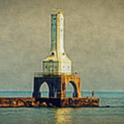 The Lighthouse And The Fisherman Art Print