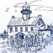 The Lines Of East Point Light In Blue Art Print