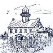 The Lines Of East Point Lighthouse In Blue 2 Art Print