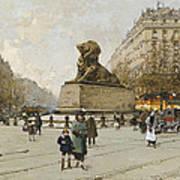 The Lion Of Belfort Le Lion De Belfort Art Print by Eugene Galien-Laloue