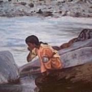 Little Girl And Ganga River Art Print