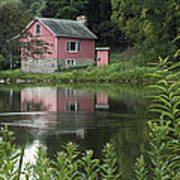 The Little Pink Cabin With Ripples Art Print