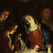 The Madonna Adoring The Infant Christ Print by Pietro Antonio Rotari