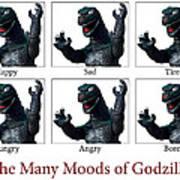 The Many Moods Of Godzilla Art Print by William Patrick