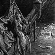 The Mariner Gazes On The Serpents In The Ocean Art Print by Gustave Dore