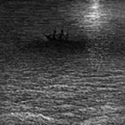 The Marooned Ship In A Moonlit Sea Art Print