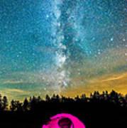 The Midnight Camper Pink Tent Art Print