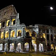 The Moon Above The Colosseum No1 Art Print
