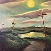 The Moon With Three Crosses Art Print