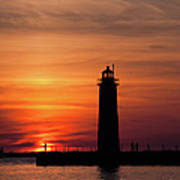 The Muskegon Lighthouse An A Lone Man Fishing Art Print