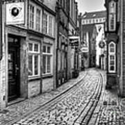 The Narrow Cobblestone Street Art Print