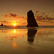 The Needles At Haystack - Cannon Beach Sunset  Art Print