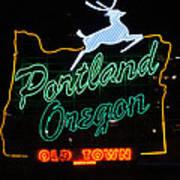 The New Portland Oregon Sign At Night Art Print by DerekTXFactor Creative