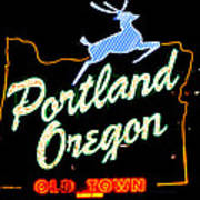 The New Portland Oregon Sign At Night With White Lights Art Print by DerekTXFactor Creative