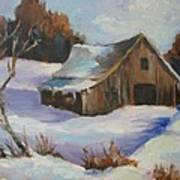 The Old Barn In Winter Art Print