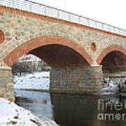 The Old Railway Bridge In Silute. Lithuania. Winter Art Print