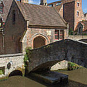 The Old Stone Bridge In Bruges Art Print