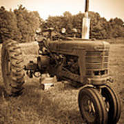 The Old Tractor Sepia Art Print